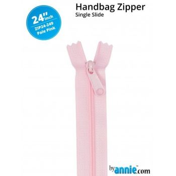 "By Annie 24"" Handbag Zipper Single Slide Pale Pink Zip"