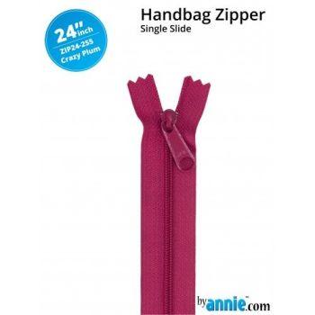 "By Annie 24"" Handbag Zipper Single Slide Crazy Plum Zip"
