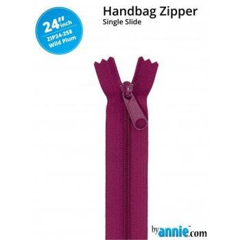 """By Annie 24"""" Handbag Zipper Single Slide Wild Plum Zip"""