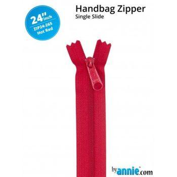 "By Annie 24"" Handbag Zipper Single Slide Hot Red Zip"