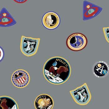 NASA Apollo 11 The Eagle Has Landed Gray Mission Patches Space Shuttle Apollo Cotton Fabric per half metre