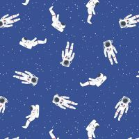 Out of this World with NASA Astronauts Blue Space Stars Astronaut Cotton Fabric