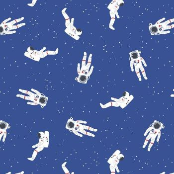 Out of this World with NASA Astronauts Blue Space Stars Astronaut Cotton Fabric per half metre