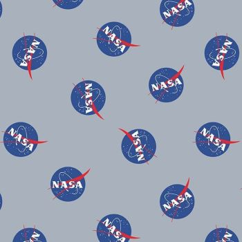 Out of this World with NASA Main Gray Logo Space Stars Astronaut Cotton Fabric per half metre