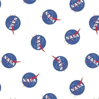 Out of this World with NASA Main White Logo Space Stars Astronaut Cotton Fabric per half metre