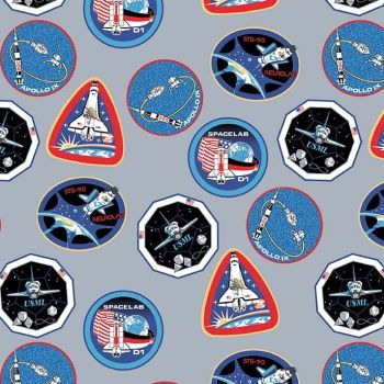 Out of this World with NASA Patches Gray Logo Space Shuttle Apollo Cotton Fabric