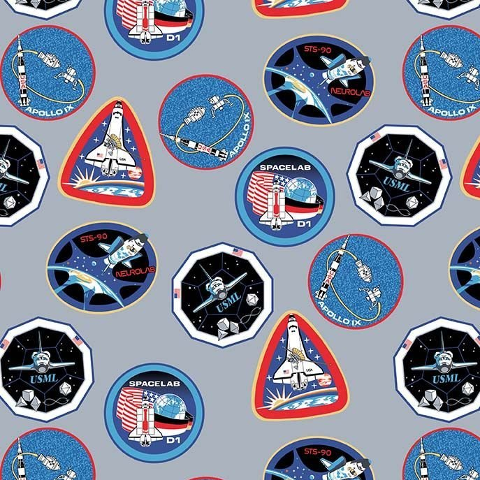 Out of this World with NASA Patches Gray Logo Space Shuttle Apollo Cotton F