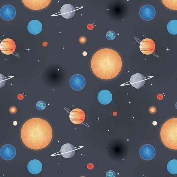 Out of this World with NASA Planets Charcoal Space Stars Solar System Planet Cotton Fabric per half metre