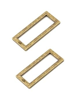 By Annie 1.5in Flat Rectangle Ring Antique Brass - 2 Pack