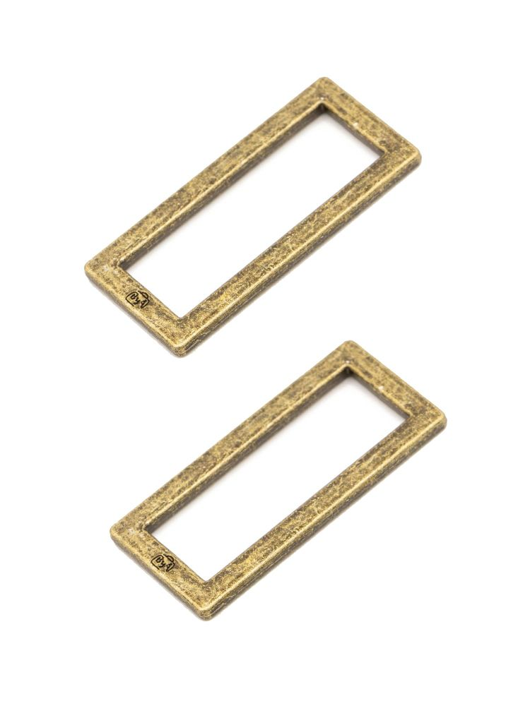 By Annie 1.5in Flat Rectangle Ring Brass - 2 Pack