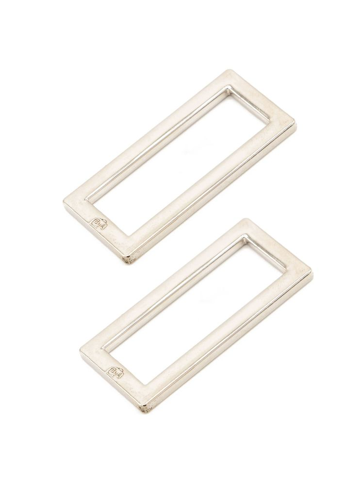 By Annie 1.5in Flat Rectangle Ring Nickel - 2 Pack