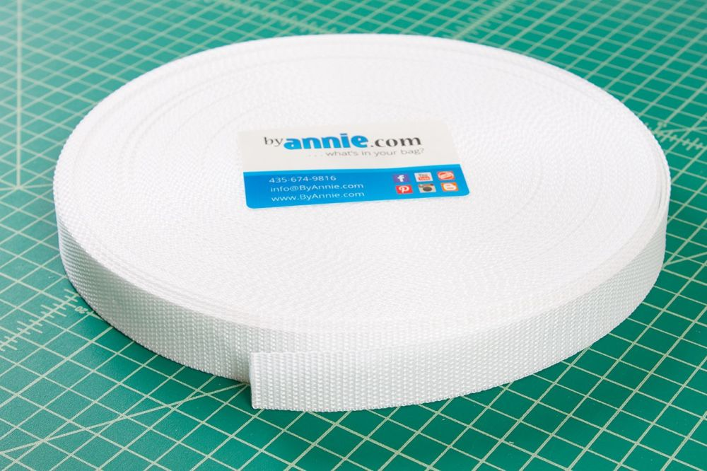 By Annie Strapping 1 Inch Wide White - Bag Handles and Straps Webbing White