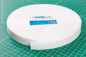 By Annie Strapping 1 Inch Wide White - Bag Handles and Straps Webbing White Polypropylene Polypro - Per Metre