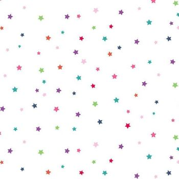 Daydream Stars Rainbow White Star Geometric Cotton Fabric