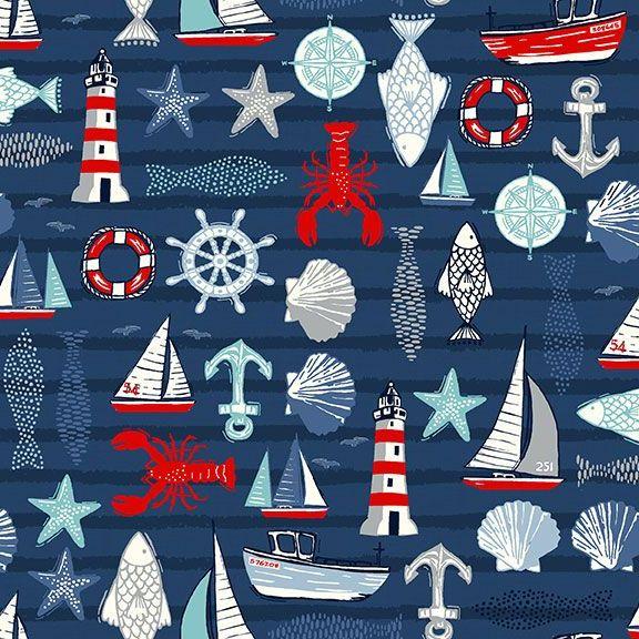 Sail Away Icons Blue Nautical Fish Anchor Lighthouse Sailing Boat Cotton Fa