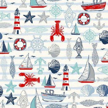 Sail Away Icons Cream Nautical Fish Anchor Lighthouse Sailing Boat Cotton Fabric