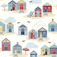 Sail Away Beach Huts Cream Scenic Coastal Nautical Cotton Fabric
