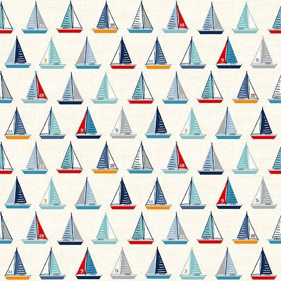 Sail Away Yachts Cream Boats Nautical Sailing Boat Cotton Fabric