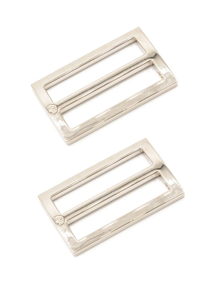 By Annie 1.5in Flat Rectangle Widemouth Slider Nickel - 2 Pack