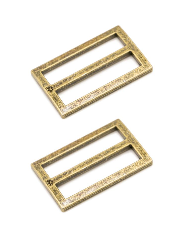 By Annie 1.5in Flat Rectangle Widemouth Slider Brass - 2 Pack