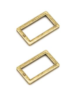 By Annie 1 inch Flat Rectangle Ring Antique Brass - 2 Pack