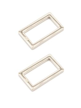 By Annie 1 inch Flat Rectangle Ring Nickel - 2 Pack