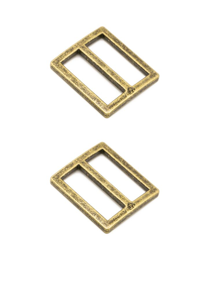 By Annie 1 inch Flat Rectangle Widemouth Slider Antique Brass - 2 Pack