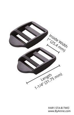 By Annie 1 inch Strap Adjuster Black - 2 Pack
