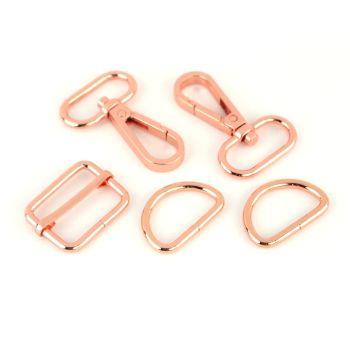 """Basic Bag Making Hardware Kit 1"""" Rose Gold Purse Supplies"""