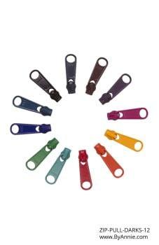 By Annie #4.5 Zipper Pull Set - Darks 12 Pieces