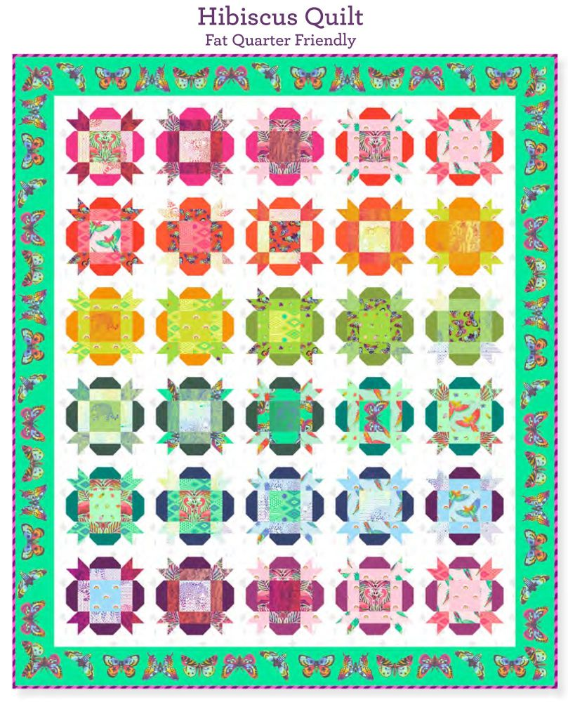 PRE-ORDER Tula Pink Daydreamer Hibiscus Quilt Fabric Kit - Pattern Availabl