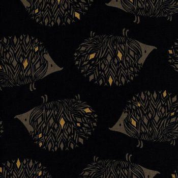 DESTASH 85cm Sleep Tight Prickles Black Hedgehog Metallic Gold Cotton + Steel Sarah Watts Cotton Linen Canvas Fabric