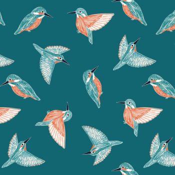Rivelin Valley Kingfisher Bird British Wildlife Dashwood Bethan Janine Birds Cotton Fabric