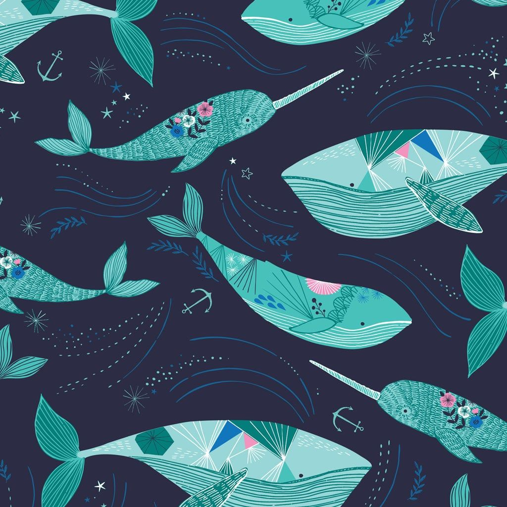 Into The Blue Whales Dashwood Bethan Janine Whale Narwhal Cotton Fabric