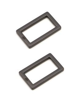 By Annie 1 inch Flat Rectangle Ring Black - 2 Pack
