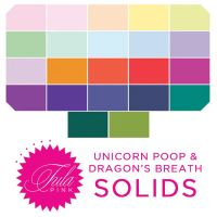 PRE-ORDER  Tula Pink Mythical Dragon's Breath and Unicorn Poop Solids Rainbow Plain Colours Blenders Coordinates 22 Half Yard Bundle Cotton Fabric