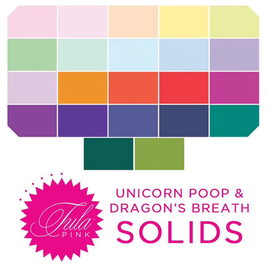 PRE-ORDER  Tula Pink Mythical Dragon's Breath and Unicorn Poop Solids Rainb