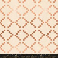 Ruby Star Society Golden Hour Tile in Copper Metallic Geometric Ikat Unbleached Cotton Fabric by Alexia Abegg
