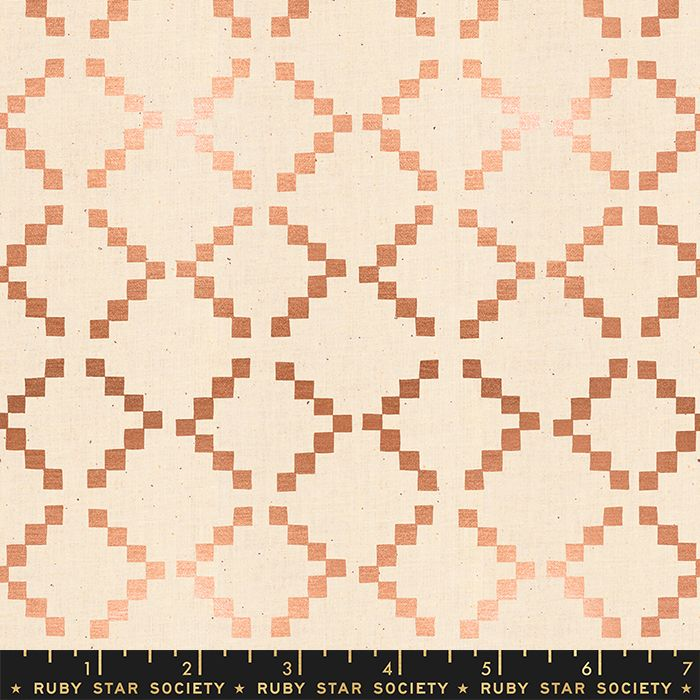 Ruby Star Society Golden Hour Tile in Copper Metallic Geometric Ikat Cotton
