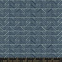 Ruby Star Society Golden Hour Mountain in Blue Slate Geometric Unbleached Cotton Fabric by Alexia Abegg