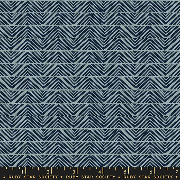 Ruby Star Society Golden Hour Mountain in Blue Slate Geometric Unbleached C