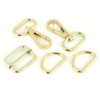 """Basic Bag Making Hardware Kit 1"""" Gold Purse Supplies"""