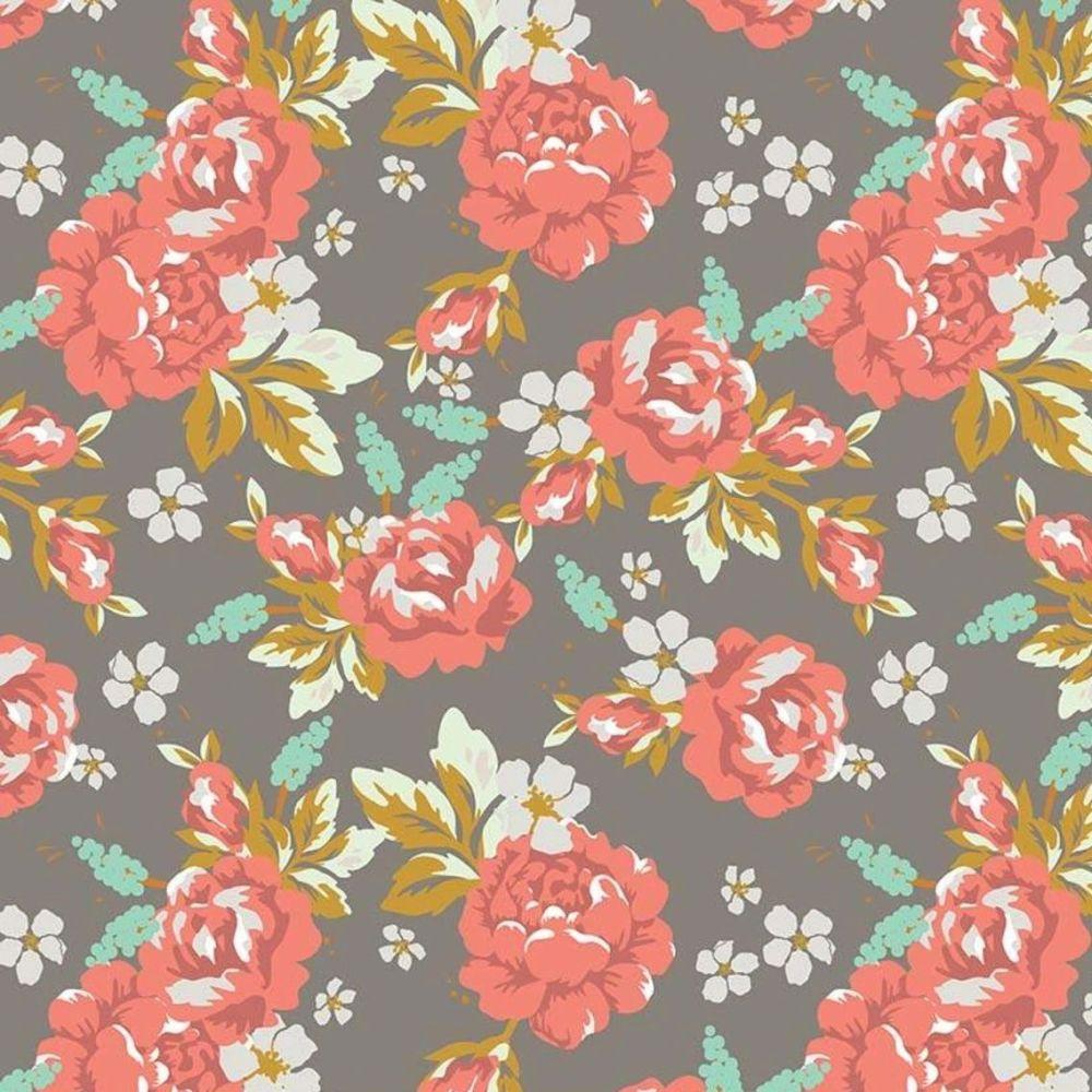 DESTASH 2.4m Golden Days Main Taupe Floral Rose Flowers Cotton Fabric
