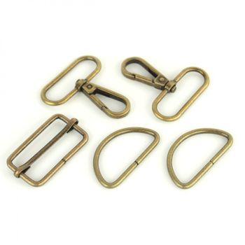 """Basic Bag Making Hardware Kit 1.5"""" Antique Brass Purse Supplies"""