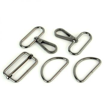 """Basic Bag Making Hardware Kit 1.5"""" Gunmetal Purse Supplies"""