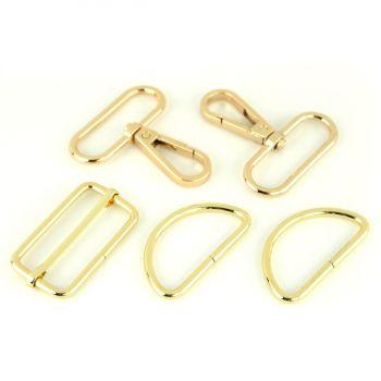 """Basic Bag Making Hardware Kit 1.5"""" Gold Purse Supplies"""