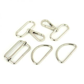 """Basic Bag Making Hardware Kit 1.5"""" Nickel Purse Supplies"""
