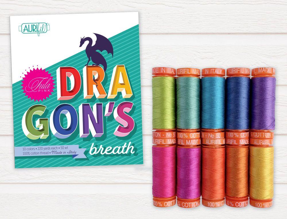 PRE-ORDER Tula Pink Dragon's Breath Collection Aurifil Cotton Thread 10 Sma