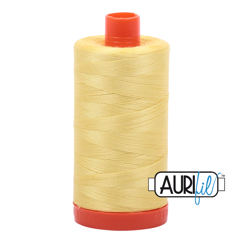 Aurifil 50wt Cotton Thread Large Spool 1300m 2115 Lemon