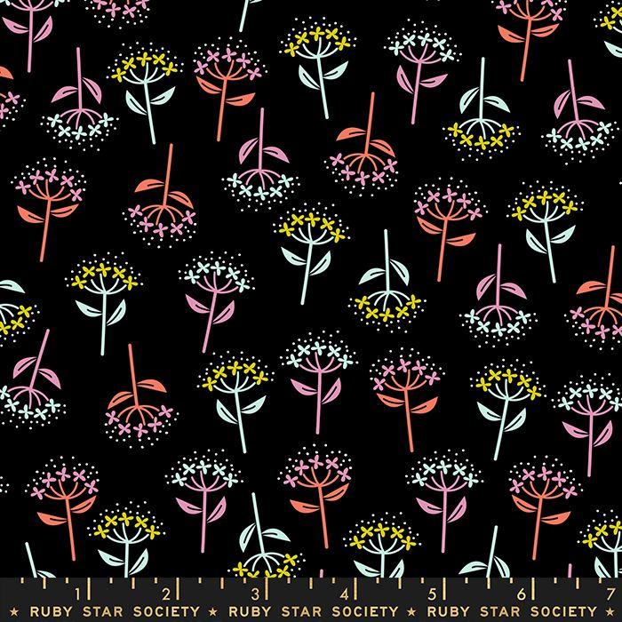 Adorn Bloom Flowers Black Ruby Star Society Rashida Coleman-Hale Cotton Fab